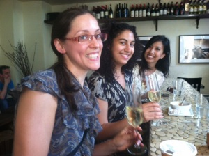 Maggie, Navani and Quyn with Champagne