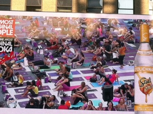It's weird to watch yourself doing yoga on the big screen.