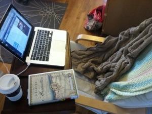 Pandora, chai latte and a book.