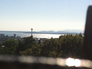 Mountains, Space Needle and ferry boat for good measure.