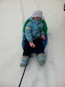 Pulling small sledders up hills is great exercise.