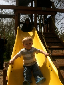 He fearlessly threw his tiny body down the slide.